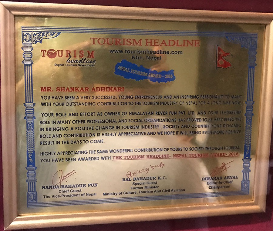 Certificate of Appreciation - Tourism Headline